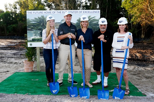 At the groundbreaking, from left to right: Samantha Els, Ernie Els, Liezl Els, Marvin R. Shanken and Hazel Shanken. (image from Cigar Aficianado)